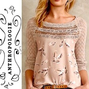 One September Feather Print Lace Embellished Top